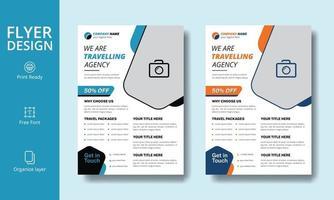 belle conception de flyer d'agence de voyage touristique bleu et noir créatif