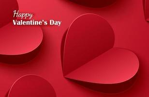 joyeuses cartes de voeux Saint Valentin avec des coeurs en papier sur fond pastel rouge.