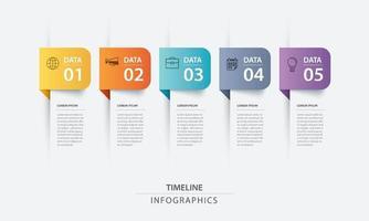 5 modèle d'index de papier onglet infographie de données. illustration vectorielle abstrait. peut être utilisé pour la mise en page du flux de travail, l'étape commerciale, la bannière, la conception Web.