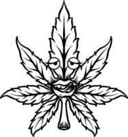 mascotte de feuille de cannabis vecteur