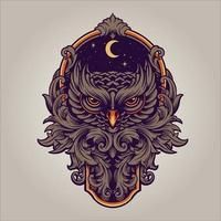 le prédateur de la chouette de nuit avec illustration de cadre de tourbillon ornement vecteur
