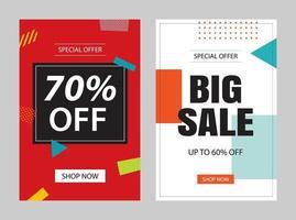 ensemble de modèles de bannière de vente. illustrations vectorielles pour affiches, achats mobiles, conceptions d'e-mails et de newsletters, annonces.