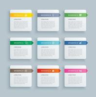 index de papier rectangle infographie avec 9 modèles de données. illustration vectorielle abstrait. peut être utilisé pour la mise en page du flux de travail, l'étape commerciale, la bannière, la conception Web.