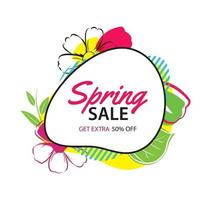 modèle d'affiche de vente de printemps avec fond de fleurs colorées. peut être utilisé pour un bon, un papier peint, des dépliants, une invitation, une brochure, une réduction de coupon.