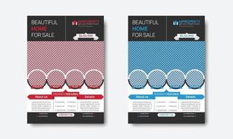 conception de flyer rouge et bleu de propriété immobilière professionnelle créative vecteur