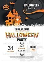 modèle d'affiche de fête invitation halloween. utiliser pour carte de voeux, flyer, bannière, affiche, illustration vectorielle.