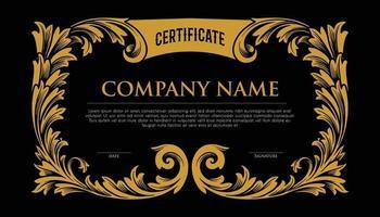 certificat cadre élégant or vecteur