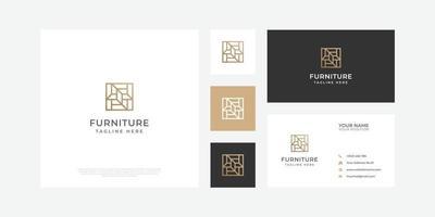 logo de mobilier abstrait moderne avec carte de visite. vecteur