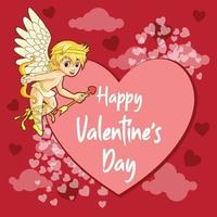 salutations de la saint-valentin avec bannière cupidon et coeur