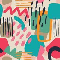 dessinés à la main diverses formes et feuilles, taches, points et lignes. Couleurs différentes. modèle sans couture contemporain abstrait. illustration de patchwork moderne en vecteur