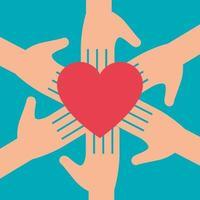 mains avec le symbole du coeur pour un don de charité vecteur