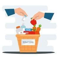 panier de charité et de dons avec de la nourriture vecteur