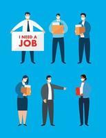 ensemble de gens daffaires au chômage vecteur