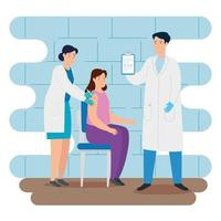 médecin vaccinant une femme dans la salle de consultation vecteur