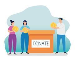 personnes avec boîte pour la charité et le don vecteur