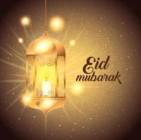 affiche eid mubarak avec lanterne suspendue et décorations vecteur
