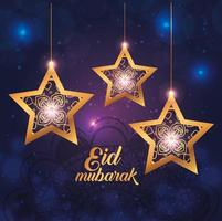 affiche eid mubarak avec des étoiles suspendues et décoration vecteur