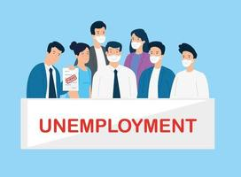 hommes d & # 39; affaires au chômage avec des masques faciaux vecteur