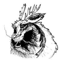 dessin de dragon à la main sur le papier