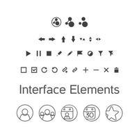 ensemble de vecteurs d'éléments d'interface, icônes de kit ui vecteur