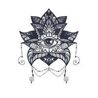 oeil sur tatouage de lotus vecteur