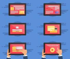 formulaire de modèle Web sur tablette vecteur
