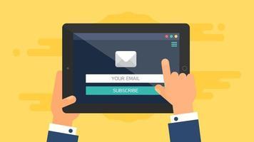 modèle Web de formulaire de courrier électronique pour tablette vecteur