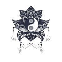 vintage yin et yang en lotus vecteur
