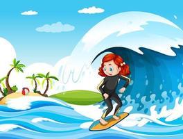 grosse vague dans la scène de l & # 39; océan avec une fille debout sur une planche de surf vecteur