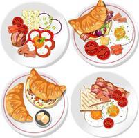 ensemble de plat de petit déjeuner différent isolé vecteur