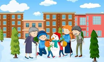 scène d'hiver en plein air avec un membre de la famille vecteur