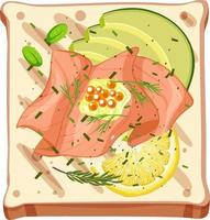 vue de dessus d'un pain au saumon fumé vecteur