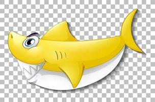 personnage de dessin animé de requin mignon souriant vecteur
