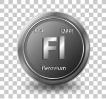 élément chimique flerovium. symbole chimique avec numéro atomique et masse atomique. vecteur
