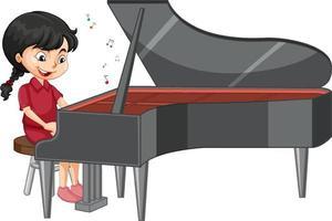 un personnage de dessin animé fille jouant du piano vecteur