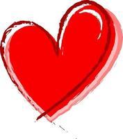coeur rouge dessiné à la main isolé