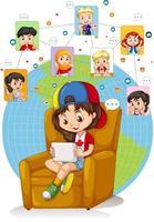 fille utilise une tablette pour discuter avec des amis vecteur