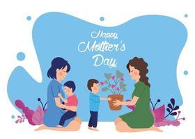 belle mère avec fils donnant plante d'intérieur, carte de fête des mères vecteur