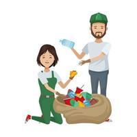 couple écologiste recyclage des plastiques vecteur