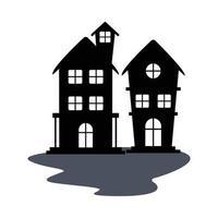 conception de vecteur silhouette maisons hantées isolées