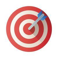 icône de style de bloc de flèche cible vecteur
