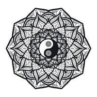 vintage yin et yang en mandala vecteur