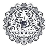 tous les yeux voyants en triangle et mandal vecteur