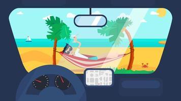 voyage d'été en voiture vecteur