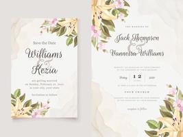 télécharger le modèle d'invitation de mariage floral vecteur