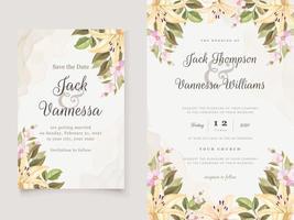 beau modèle d'invitation de mariage floral vecteur