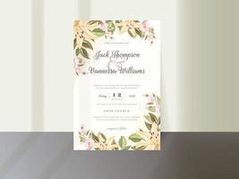 modèle d'invitation de mariage floral élégant vecteur
