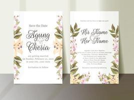 invitation de mariage floral avec de belles fleurs et feuilles vecteur