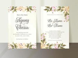 invitation de mariage floral avec des fleurs et des feuilles vecteur