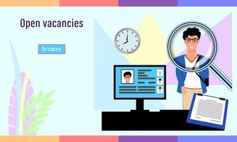agence de recrutement offres d'emploi ouvertes vecteur